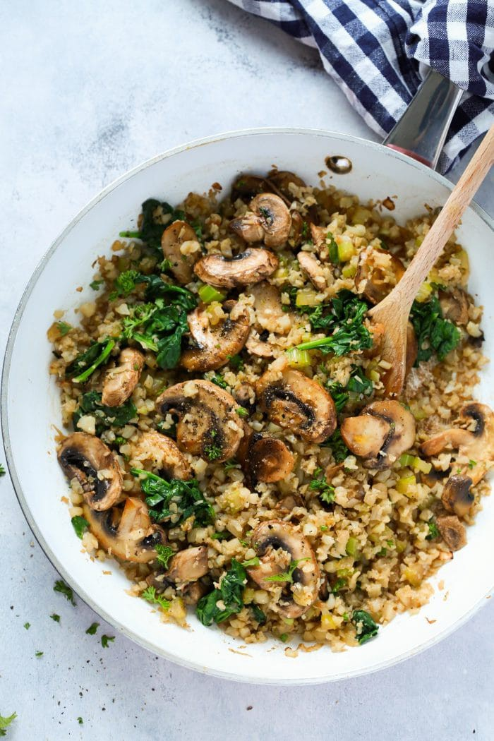Mushroom Cauliflower Rice Skillet Recipe